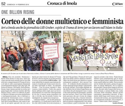 articolo di Laura Giorgi sul Corriere di Romagna di domenica 14 febbraio 2016