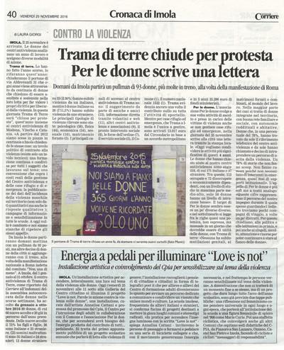 Corriere di Romagna, 25 novembre 2016, articolo di Laura Giorgi