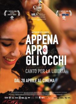 """Locandina film """"Appena apro gli occhi - canto per la libertà"""""""