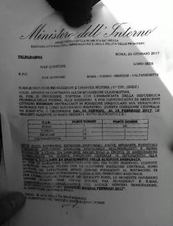 telegramma ministero dell'interno
